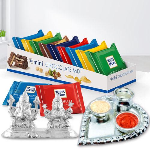 Marvelous Gift of Imported Chocolates n Auspicious Ganesh Laxmi Idols n Pooja Thali