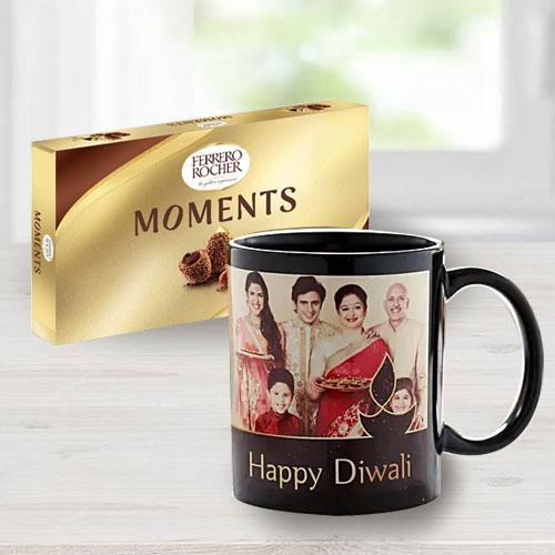 Beautiful Personalized Family Photo Mug with Ferrero Rocher Chocolate on Diwali