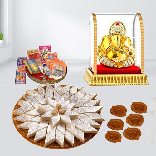 Tasty Kaju Katli with Ganesh Idol n Diwali Pooja Samagri, Free Diya