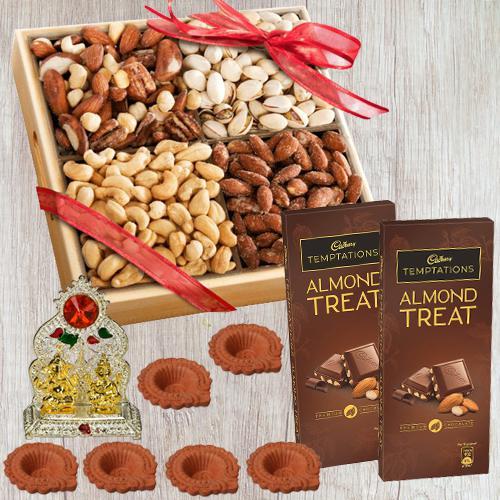 Exclusive Wooden Tray of Premium Salted Dry Fruits, Laxmi Ganesh Mandap n Free Diya for Diwali