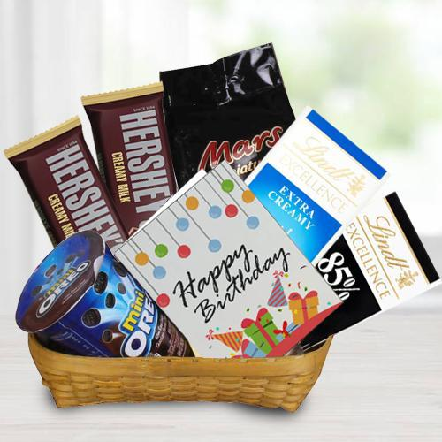 Marvelous Gift Basket of Chocos n Birthday Card