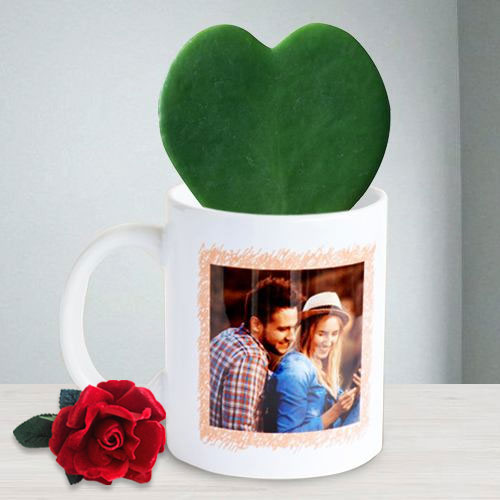 Amazing Hoya Heart Plant in Personalized Photo Coffee Mug with Red Velvet Rose