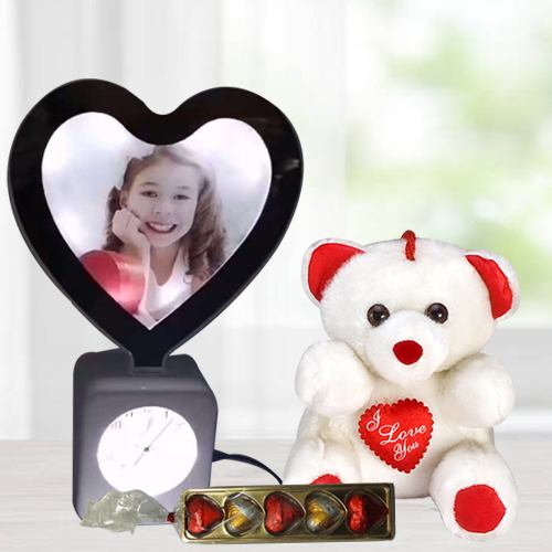 Charming Valentine Gift of Personalized Photo Lamp Clock with Chocolates n Cute Teddy