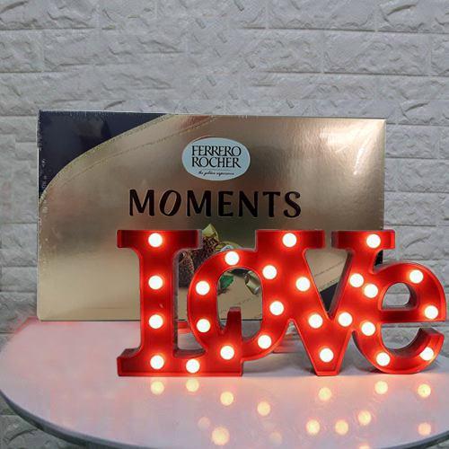 Romantic Love Lamp N Ferrero Rocher Moments Gift Combo for Sweetheart