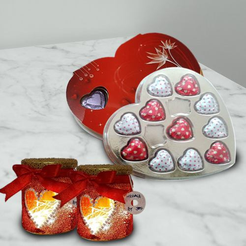 Smart-Looking LED Lamp N Heart Shape Chocolates Combo Gift