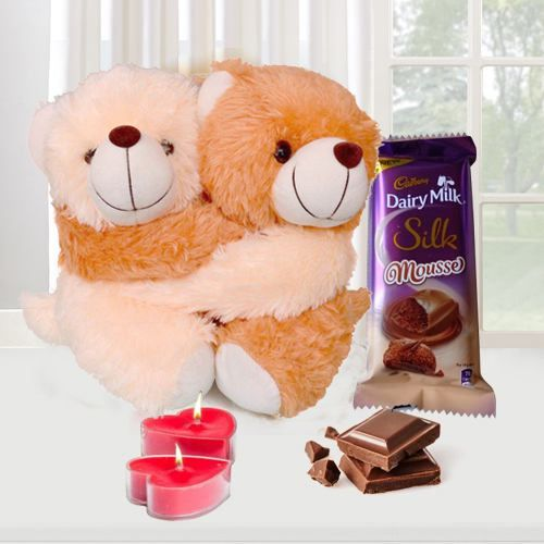 Teddy Day Surprise Gift of Cute Teddy with Chocolate n  Candles