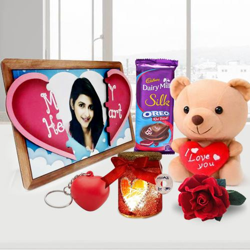Fascinating V-day Gift of Photo Magnetic Heart with Handmade Chocolates n Candles