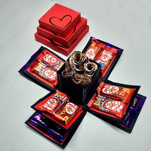 Dashing Valentine Special Explosion Box of Chocolates n Roses
