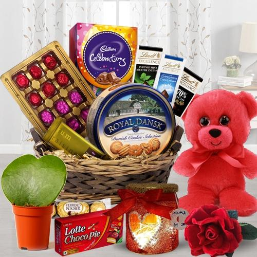 Enticing Hamper of Chocolate Treat with Teddy, Lamp, Rose N Plant