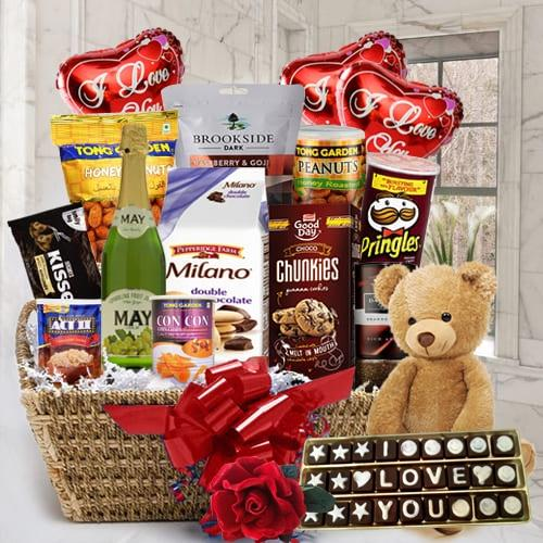 Delightful Gourmet Delicacy Gift Hamper with Balloons, Teddy N Rose