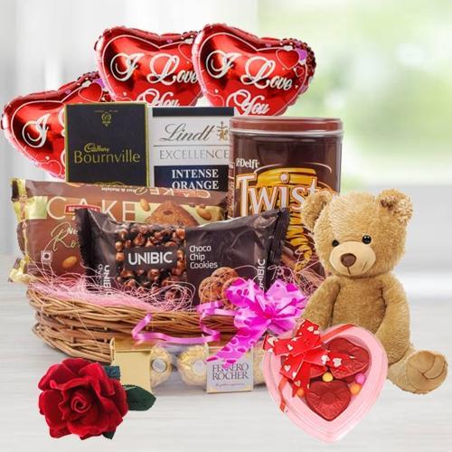 Mesmerizing Chocolate Treat with Balloon, Teddy N Rose