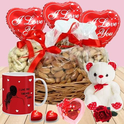 Magnificent Dry Fruits Basket with Valentine Delights
