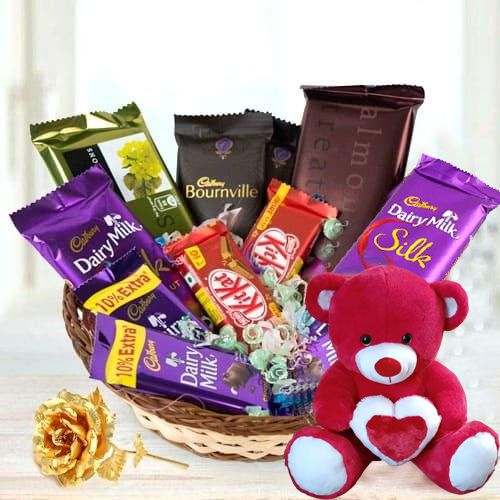 Impressive Chocolate Indulgence  Gift Basket with Teddy N Golden Rose