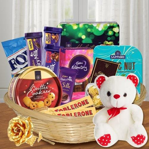Enticing Chocolate Temptation Gift Basket with Golden Rose N Teddy