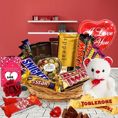 Mind-Blowing Assorted Chocolates Gift Basket with Valentine Accessories