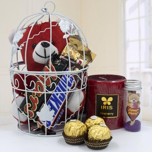 Charming Love Cage of Teddy n Chocolates