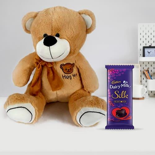 Wonderful Teddy with Chocolate for Kids Bday