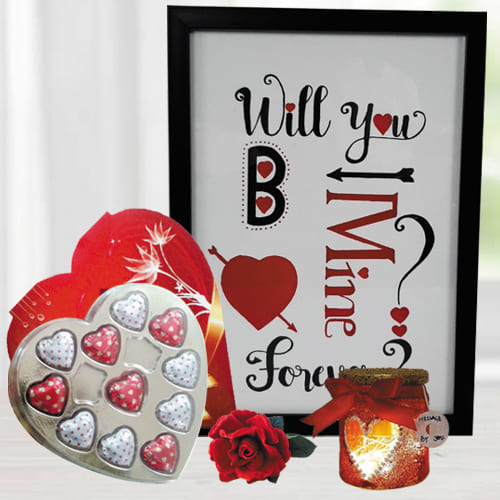 Lovely Photo Frame with Led Lamp n Heart Chocolates