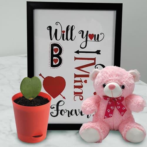 Impressive Photo Frame with Cute Teddy n Hoya Heart Plant