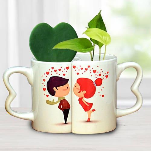 Beautiful Couple Coffee Mug with Hoya Heart n Money Plant