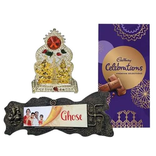 Exquisite Handmade Name Plate with Premium Chocolates n Antique Mandap