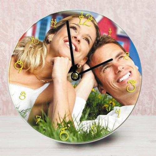 Alluring Personalized Photo Glass Round Wall Clock