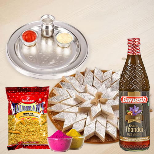 Traditional Silver Plated Thali with Holi Gift Assortments