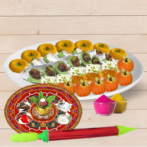 Enticing Assorted Sweets from Bhikaram with Pooja Thali N Holi Colors