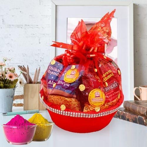 Mesmerizing Munches Gift Basket for Holi