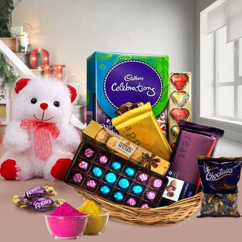 Ambrosial Chocos Gift Basket for Holi