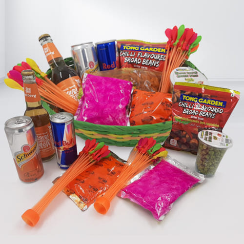 Special Holi Gifts Basket of Snacks n Drinks