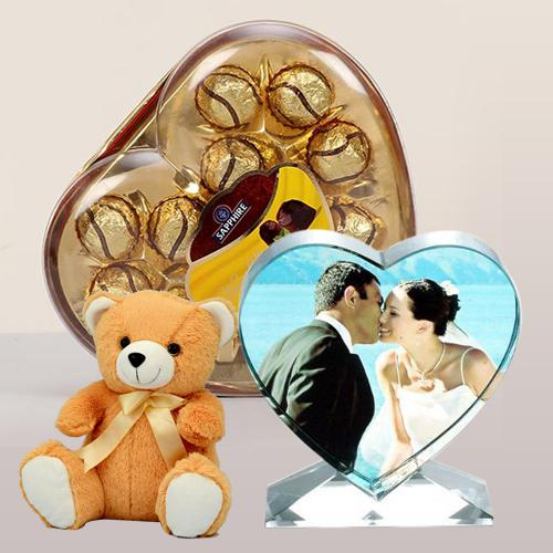 Attractive Personalized Heart Crystal with Sapphire Chocolate N Cute Teddy