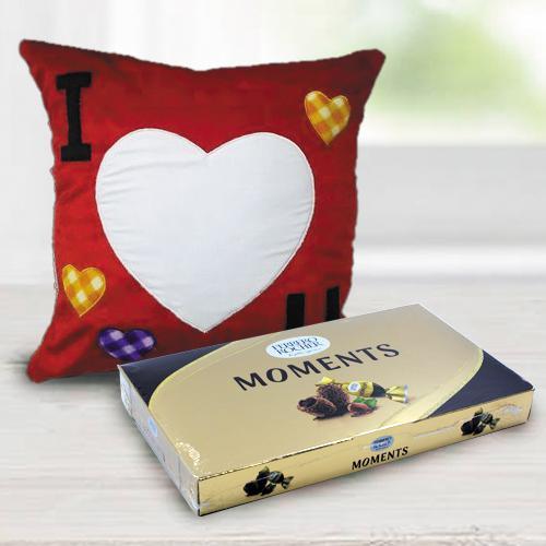Alluring Personalized ILU Velvety Cushion with Ferrero Rocher