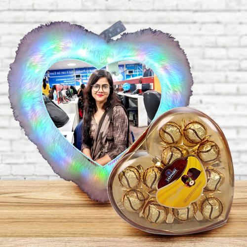 Brilliant Personalized LED Heart Fur Cushion with Sapphire Chocolates