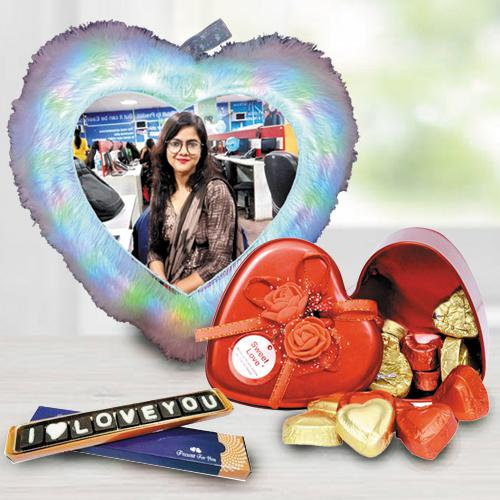 Excellent Personalized LED Heart Fur Cushion n Chocolates Combo