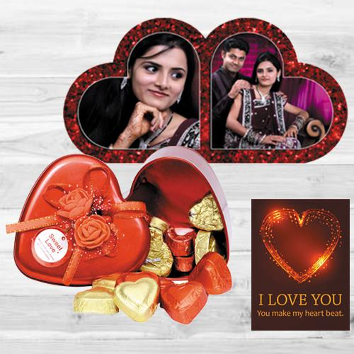 Attractive Personalized HB Duel Heart with Handmade Chocolates n ILU Card