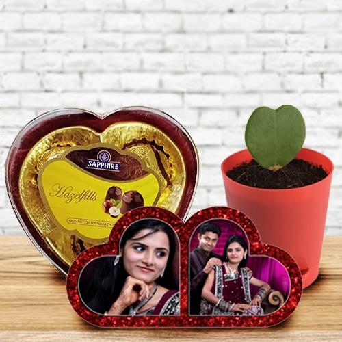 Outstanding Personalized HB Double Heart, Zoya Heart Plant n Sapphire Chocolate