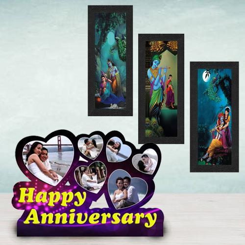 Lovely Personalized Happy Anniversary N Radha Krishna Photo Frames
