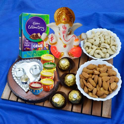 Appealing Present of Puja Thali, Dry Fruits, Chocolates N More