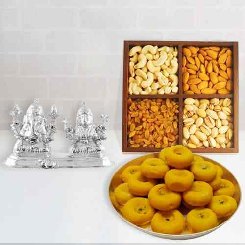Dry Fruits with Kesaria Peda, Ganesh Lakshmi Idol