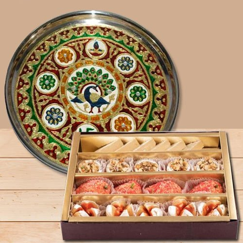 Wonderful Subh Labh Stainless Steel Thali with Haldirams Sweets