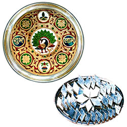 Marvelous Subh Labh Stainless Steel Thali with Haldirams Kaju Katli