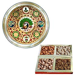 Worderful Subh Labh Stainless Steel Thali with Assorted Dry Fruits