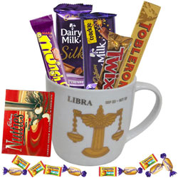 Remarkable Collection of Chocolates with Libra Sun Sign Printed Mug