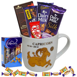 Fascinating Arrangement of Chocolates with Capricorn Sun Sign Printed Mug