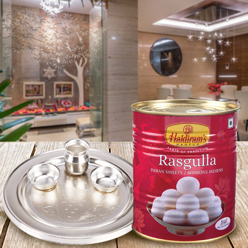Delicious Haldirams Rasgulla with Silver Plated Puja Thali