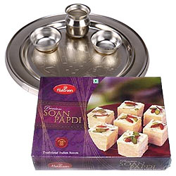 Exquisite Silver Plated Puja Thali with Haldirams Soan Papdi