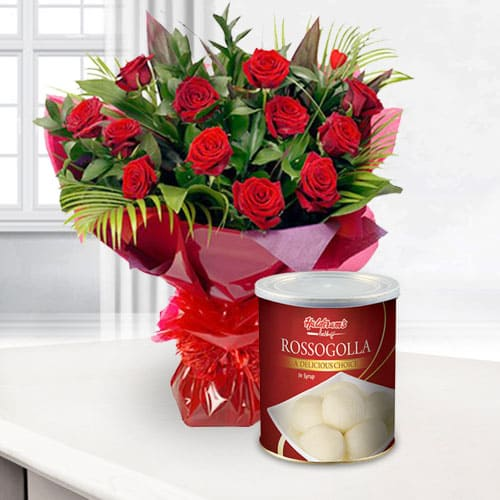 Glamorous Bouquet of Red Roses with Haldiram Rasgulla