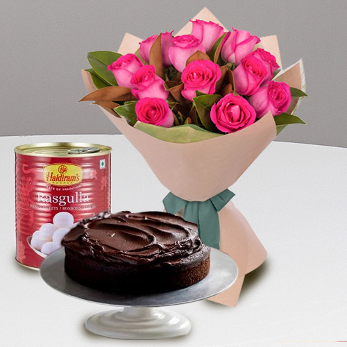 Deluxe 12 Red Roses and Haldiram Rasgulla with 1 Kg Eggless Cake
