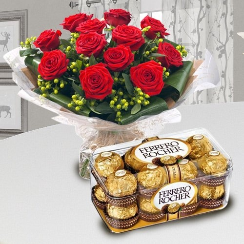 Ferrero Rocher Chocolates N Red Rose Bouquet